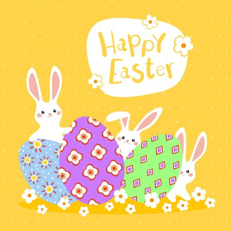Happy Easter greeting card with colorful eggs and bunny on yellow background. Vector illustration for Easter day Ilustrace