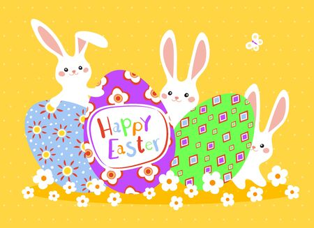 Happy Easter greeting card with colorful eggs and bunny on yellow background. Vector illustration for Easter day Illusztráció