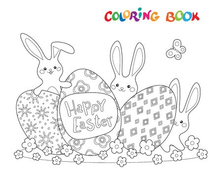 Coloring book or page with three eggs and funny rabbits on meadow. Happy easter coloring illustration.