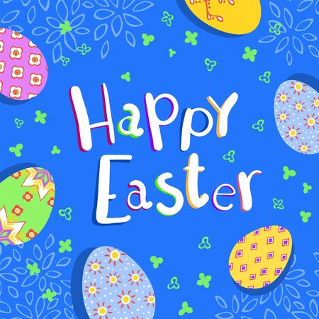 Happy Easter greeting poster with colorful eggs on blue