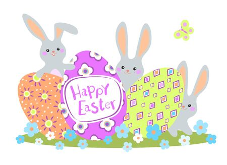 Happy Easter greeting card with colorful eggs and bunny on white background. Vector illustration for Easter day