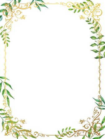 Watercolor herbal mix vector frame on white