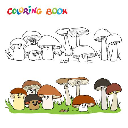 Coloring book or page with a group of funny mushrooms of different sizes.