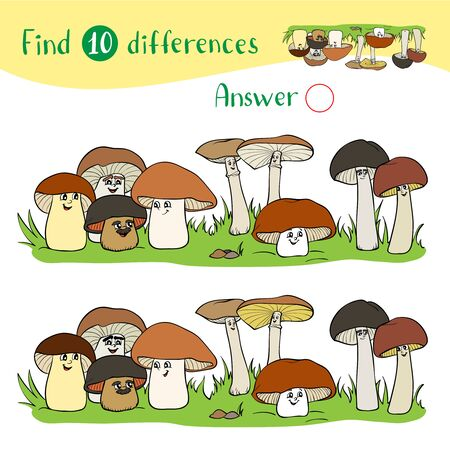 Cartoon Illustration with a group of funny mushrooms of different sizes. Ilustrace