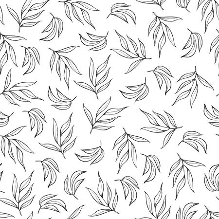 Seamless pattern with black leaves on white Ilustrace
