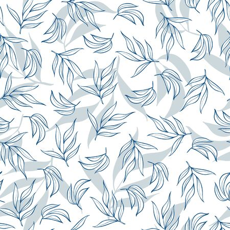 Seamless pattern with leaves on white Ilustrace