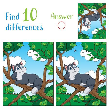 Illustration with a gray funny cat sitting on a tree branch and looking at the sky. Ilustrace