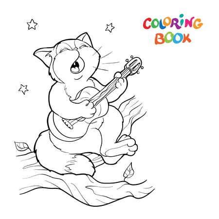 Coloring book or page. A singing cat sits on a branch and plays the guitar, stars in the sky.