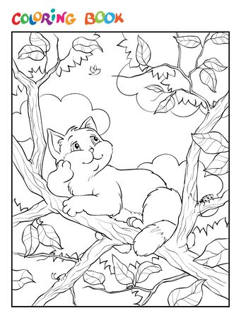 Coloring book or page. Illustration with a gray funny cat sitting on a tree branch and looking at the sky. Ilustrace