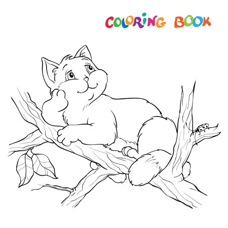 Coloring book or page. Illustration with a funny cat sitting on a tree branch and looking at the sky. Ilustrace
