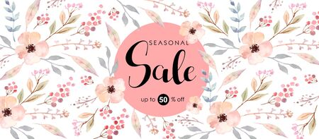 Horizontal poster with watercolor pink flowers. Ilustrace