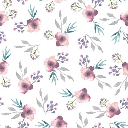 Vector watercolor seamless pattern with flowers and branches.