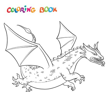 cartoon vector outline illustration medieval dragon. coloring book