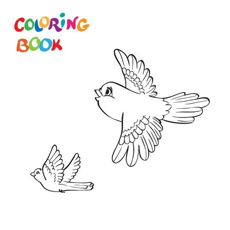 coloring book with two flying birds. vector illustration Ilustrace