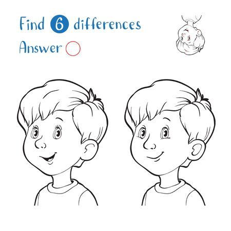 Find 10 differences. Black and white portrait of a smiling boy.
