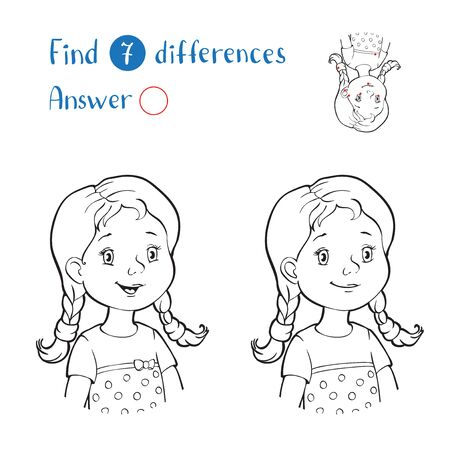 Find 10 differences. Black and white portrait of a girl with two pigtails.