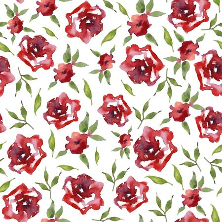 Vector watercolor seamless pattern with flowers and branches. Floral background design.