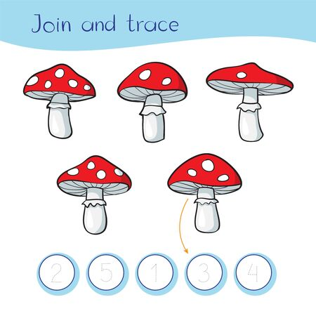 Logic game for children. Count, join and write. Stock Illustration Five fly agaric mushrooms with different number of white spots Ilustrace