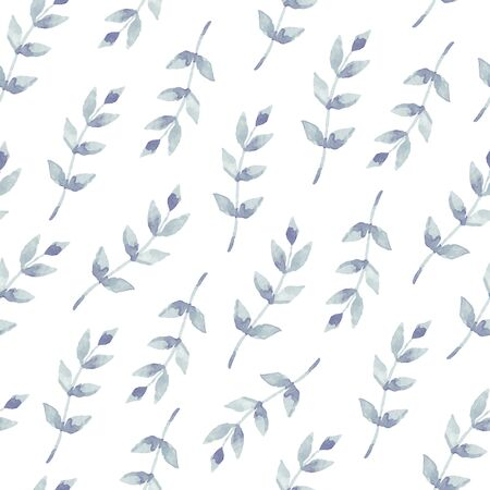 Vector watercolor seamless pattern with leaves. Floral background design. Ilustrace