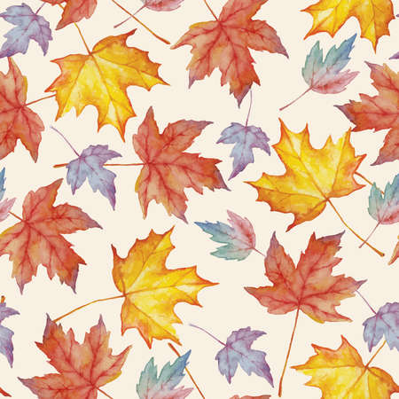 Vector watercolor seamless pattern with autumn maple leaves. Floral background design. Ilustrace