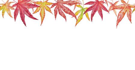 Watercolor autumn maple leaves on white background. Autumn card design. Horizontal Seamless background with autumn leaves of japanese maple