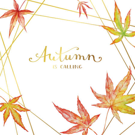 Watercolor autumn maple leaves on white background. Autumn card design