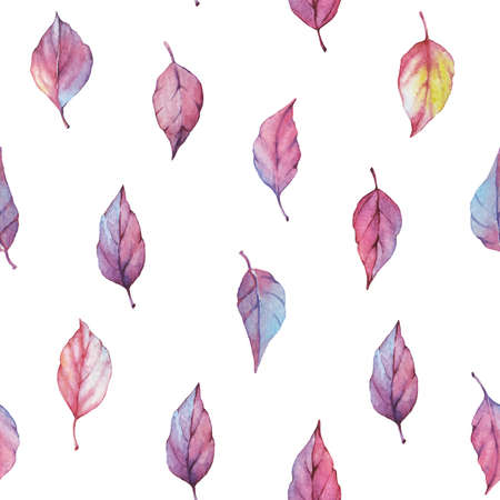 Vector watercolor seamless pattern with autumn leaves. Floral background design. Autumn leaves cut out on white