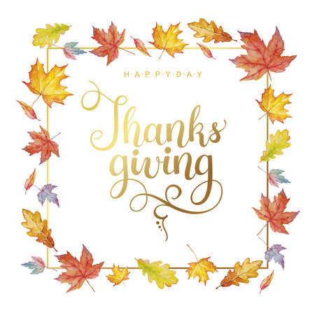 Happy thanksgiving text with watercolor autumn leaves isolated on white background. Autumn illustration for greeting cards, wedding invitations, quote and decorations.