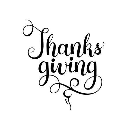 thanksgiving black lettering isolated on white background.