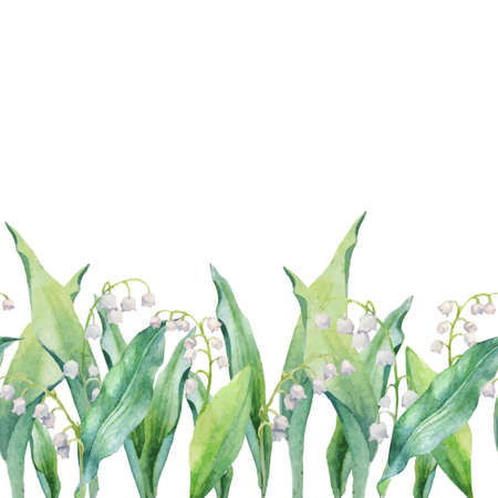 horizontal pattern of watercolor lilies of the valley and leaves isolated on white background. Vector decor for your design.