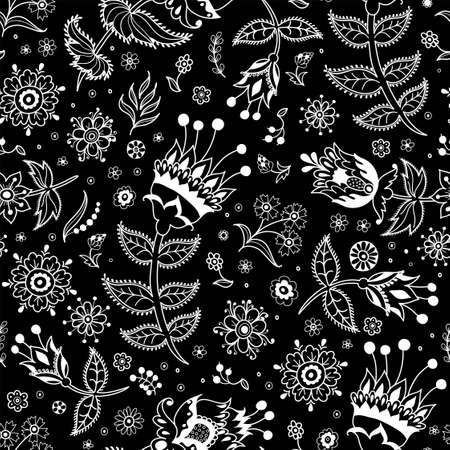 Vector seamless pattern of decorative flowers and plant elements in folk style isolated on black background. Illustration