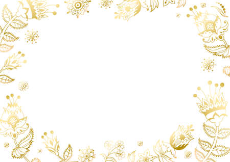 Floral frame and page decoration. Golden leaves cut out on the white background. Vector of a decorative horizontal element, border, and frame.