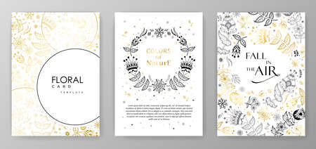 Gold color invitation with floral branches. Autumn cards templates for save the date, wedding invites, greeting cards