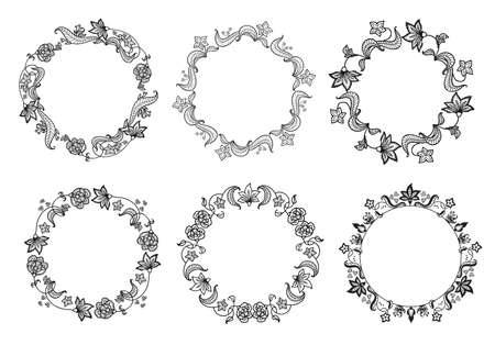Floral black and white seamless border with floral style. Set of cute decorative elements in the circle frame for wedding invitations and birthday cards