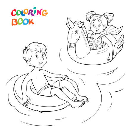 Coloring book or page. Happy children swim on rubber rings in the water