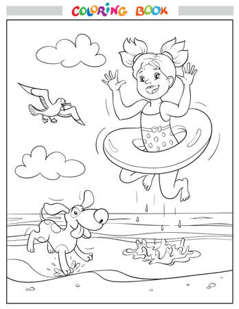 Black and white coloring book or illustration. Joyful girl and dog are jumping into the sea on the beach, a seagull is flying in the sky. Illustration