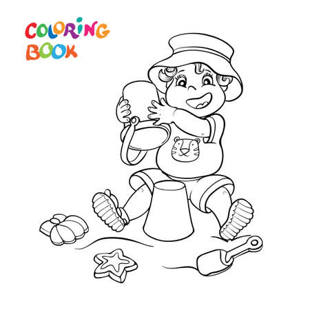 Coloring book or page. Happy child in shorts, t-shirt, and panama hat play in the sand and toys.