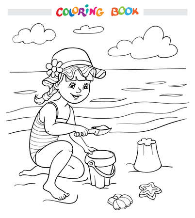 Coloring book or page. A happy girl plays in the sand on the beach near the sea, a cloud flies in the sky.