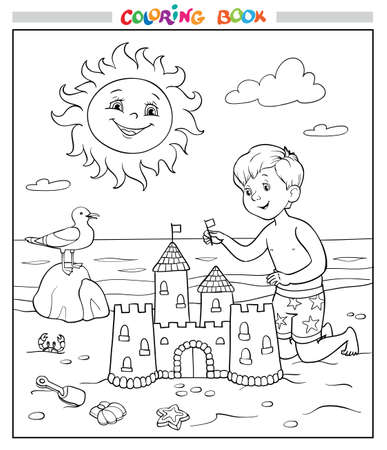 Coloring book or page. The boy is building a sandcastle on the beach near the sea. The sun smiles in the sky and the seagull on the stone