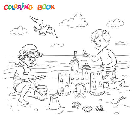Coloring book or page. A girl and a boy are playing on the beach near the sea. The boy is building a sandcastle. The girl plays with a bucket and sand.