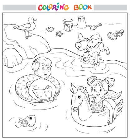 Coloring book or page. Cheerful boy and girl swim on rubber rings in the water, a dog jumps on the shore, a seagull sits on a stone Illustration