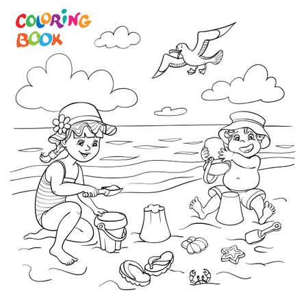 Coloring book or page. Happy children play in the sand on the beach near the sea, a seagull flies in the sky.