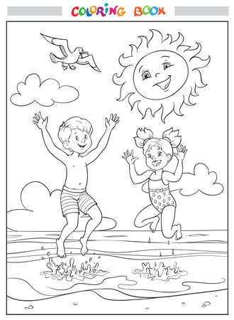 Black and white coloring book or illustration. Joyful girl and boy are jumping into the sea on the beach, the sun is smiling in the sky, clouds and a seagull is flying.