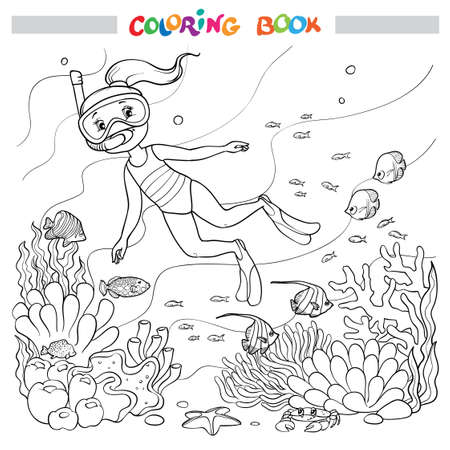 Coloring book or page. A girl underwater in a mask and fins swims among fish, algae, and corals.