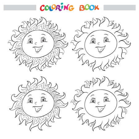 Coloring book or page with a collection of four smiling suns with different crowns or rays.