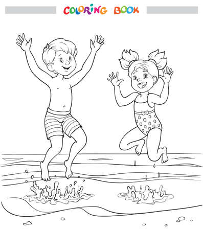 Black and white coloring book or illustration. Joyful girl and boy are jumping into the sea on the beach Illustration
