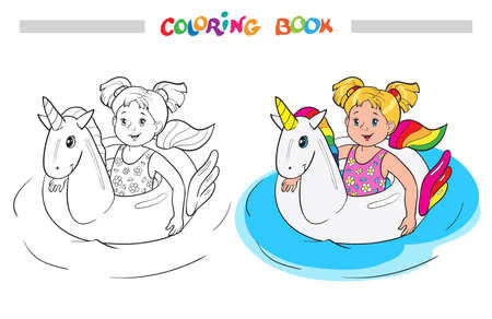 Coloring book or page. Happy little girl swim on unicorn rubber ring in the water Illustration