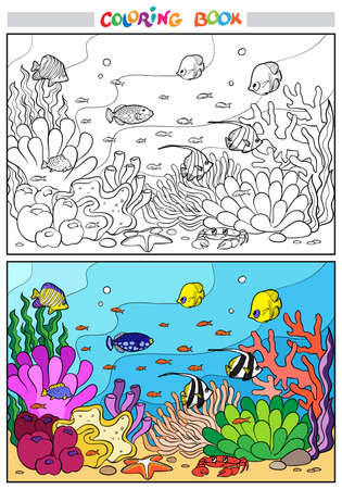 Coloring book or page. Underwater life. Multi-colored fish swim against the background of corals. At the bottom lies a starfish and a crab. Illustration