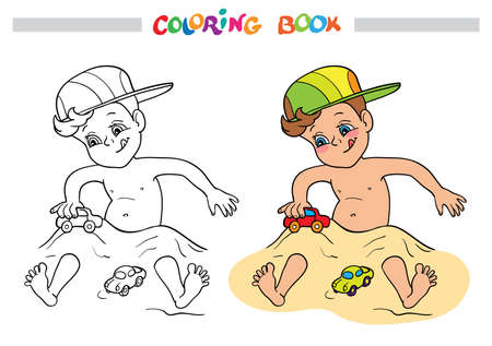 Coloring book or page. A happy little boy in a hat play in the sand and car toys. Illustration