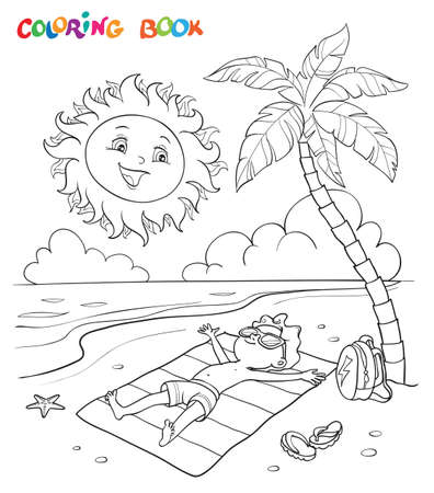 Coloring book or page. The boy sunbathes on the beach with a palm tree near the sea, the sun looks at him and smiles. Illustration